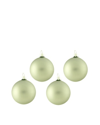 Artisan Glass by Seasons Designs Set of 4 Solid Glass Ornaments, Sage Green