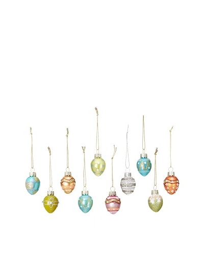 Artisan Glass by Seasons Designs Set of 10 Pastel Easter Egg Glass Ornaments