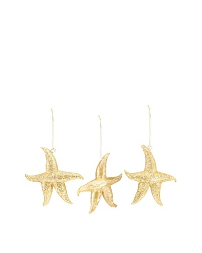 Artisan Glass by Seasons Designs Set of 3 Starfish Glass Ornaments, Gold