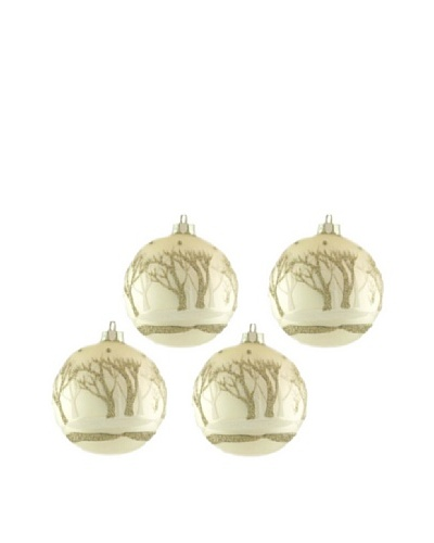 Artisan Glass by Seasons Designs Set of 4 Candlelight Glitter Forest Glass Ornaments, Crème Matte