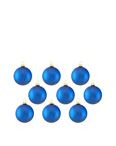 Artisan Glass by Seasons Designs Set of 9 Solid Glass Ornaments, Royal Blue Matte