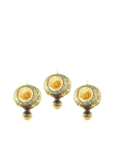 Artisan Glass by Seasons Designs Set of 3 Decorated Glass Ornaments, Burgundy/Gold, Set of 3