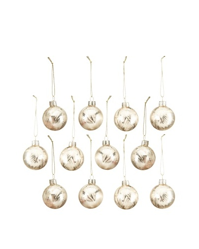 Artisan Glass by Seasons Designs Set of 12 Solid Glass Ornaments, Gold Ice Crystal