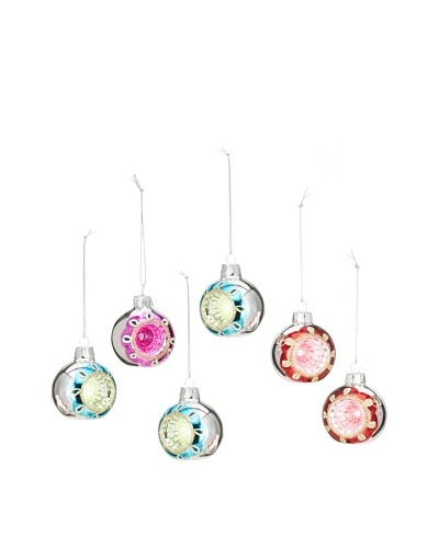 Artisan Glass by Seasons Designs Set of 6 Hand-Painted Glass Ornaments, Multi