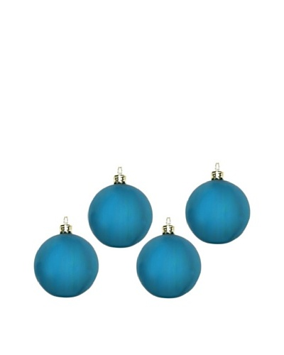 Artisan Glass by Seasons Designs Set of 4 Solid Glass Ornaments, Teal Matte