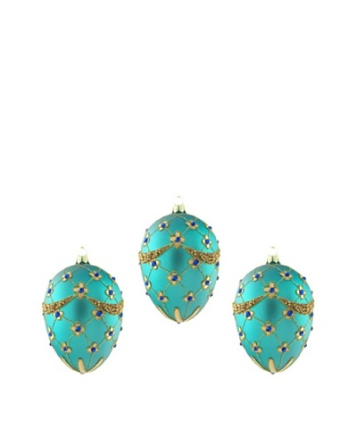 Artisan Glass by Seasons Designs Set of 3 Decorated Egg-Shaped Glass Ornaments, Teal