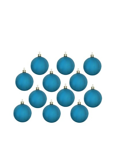 Artisan Glass by Seasons Designs Set of 12 Solid Glass Ornaments, Teal Matte