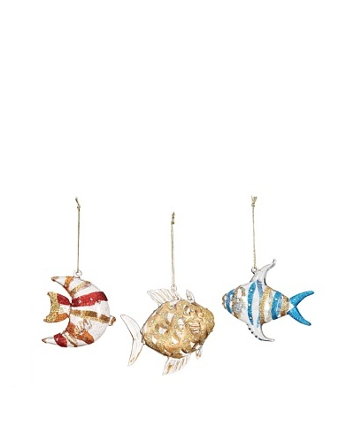 Artisan Glass by Seasons Designs Set of 3 Assorted Fish Glass Ornaments, Multi