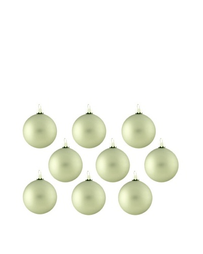 Artisan Glass by Seasons Designs Set of 9 Solid Glass Ornaments, Sage Green