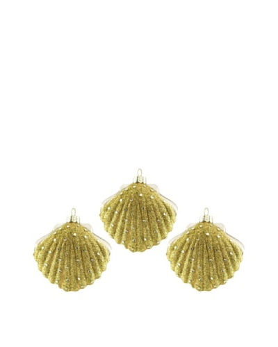 Artisan Glass by Seasons Designs Set of 3 Seashell Glass Ornaments, Gold