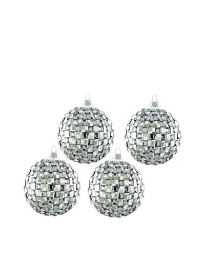 Artisan Glass by Seasons Designs Set of 4 Square Mirror Glass Ornaments, Silver