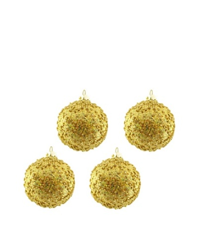 Artisan Glass by Seasons Designs Set of 4 Beaded Glass Ornaments, Multi