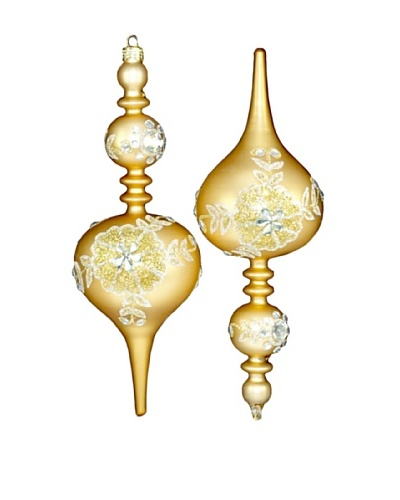 Artisan Glass by Seasons Designs Set of 2 Shaped Glass Ornaments, Gold