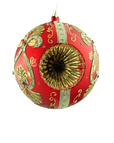 Artisan Glass by Seasons Designs Decorated Glass Ornament with Double Witch's Eye, Red/Gold