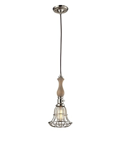 Artistic Lighting Spun Wood 1-Light Pendant with Cage, Polished Nickel Finish