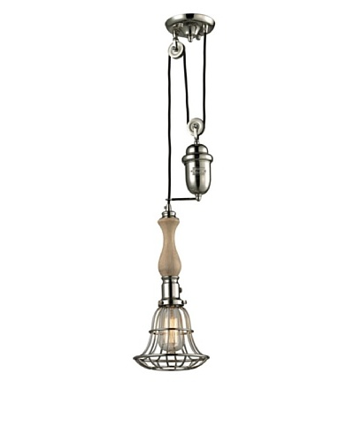 Artistic Lighting Spun Wood Collection 1-Light Pull-down Pendant, Polished Nickel