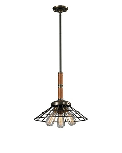 Artistic Lighting Spun Wood Collection 3-Light Pendant, Vintage Rust