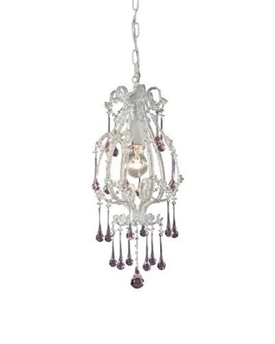 Artistic Lighting Opulence 1-Light Pendant, Antique White/Rose Crystals