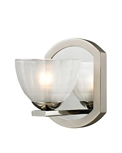 Artistic Lighting Sculptive Collection 1-Light Bath Sconce, Polished/Matte Nickel