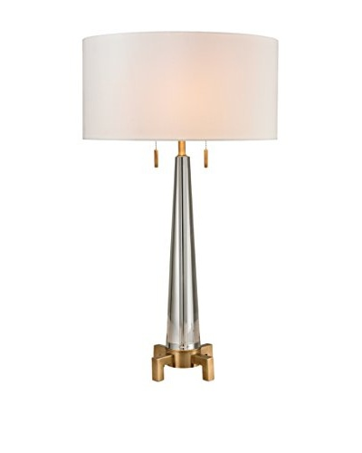Artistic Lighting Crystal Column Table Lamp, Clear/Aged Brass