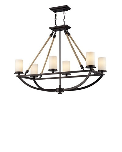 Artistic Lighting Natural Rope 6-Light Chandelier, Aged Bronze Finish