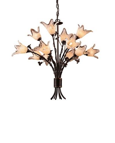 Artistic Lighting 12-Light Hand Blown Tulip Glass Chandelier, Aged Bronze