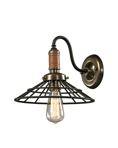 Artistic Lighting Spun Wood Collection 1-Light Sconce, Vintage Rust