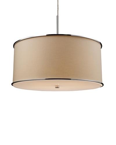 Artistic Lighting Fabrique 5-Light Drum Pendant, Chrome/Beige