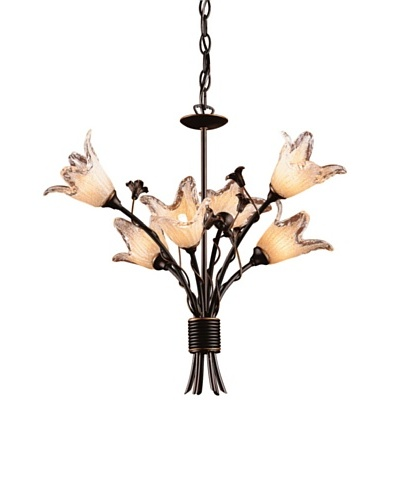 Artistic Lighting 6-Light Hand Blown Tulip Glass Chandelier, Aged Bronze