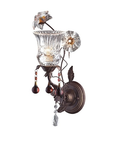 Artistic Lighting 1-Light Hand Blown Florets Sconce, Deep Rust