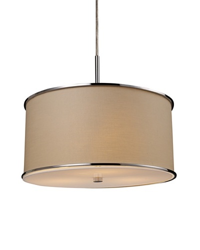 Artistic Lighting Fabrique 3-Light Drum Pendant, Chrome/Beige