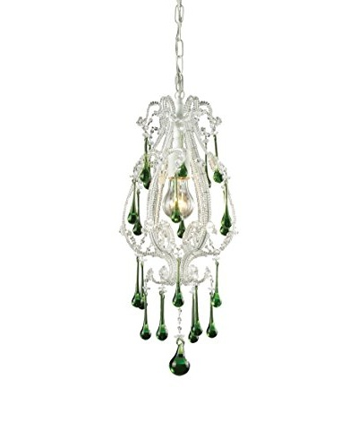 Artistic Lighting Opulence 1-Light Pendant, Antique White/Lime Crystals
