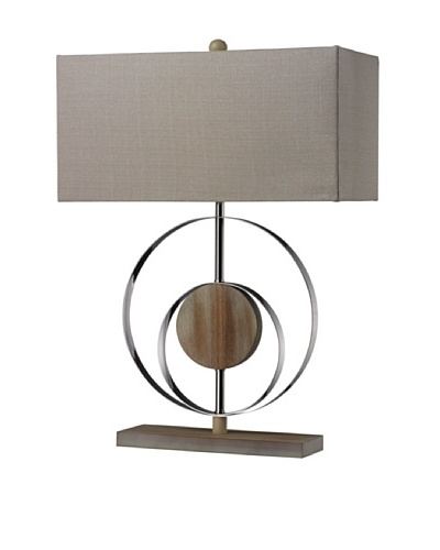 Artistic Lighting Shiprock Washed Wood Table Lamp, Bleached Wood/Chrome