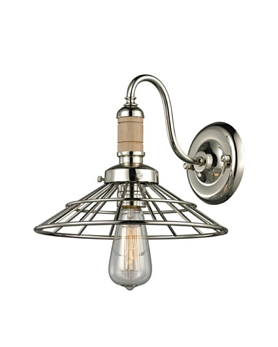 Artistic Lighting Spun Wood Collection 1-Light Sconce, Polished Nickel