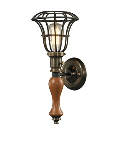 Artistic Lighting Spun Wood Collection 1-Light Sconce, Vintage Rust