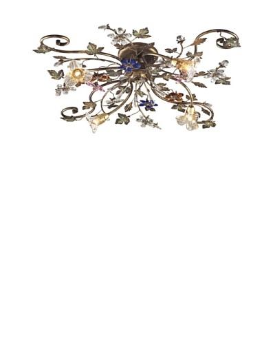 Artistic Lighting 4-Light Crystal Florets Semi-Flush, Multi/Bronzed Rust