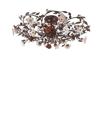 Artistic Lighting 6-Light Hand Blown Florets Semi-Flush Mount, Deep Rust