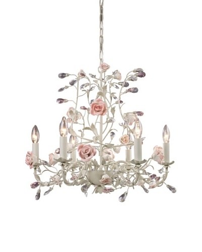 Artistic Lighting 6-Light Porcelain Roses Chandelier, Cream