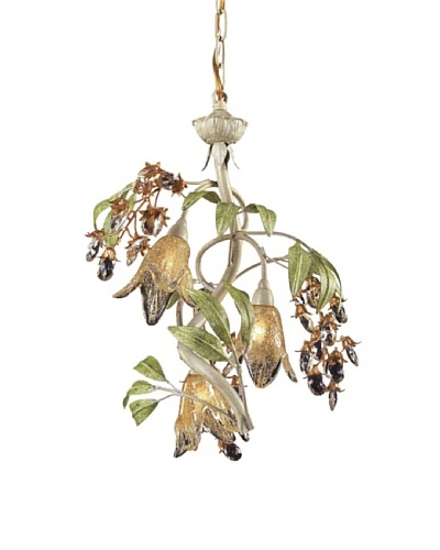 Artistic Lighting 3-Light Seashell & Amber Glass Chandelier