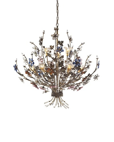 Artistic Lighting 9-Light Crystal Florets Chandelier, Multi/Bronzed Rust