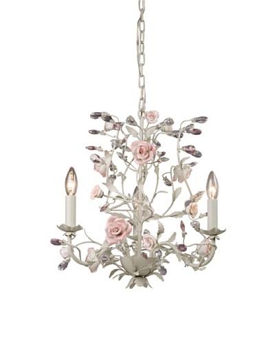Artistic Lighting 3-Light Porcelain Roses Chandelier, Cream