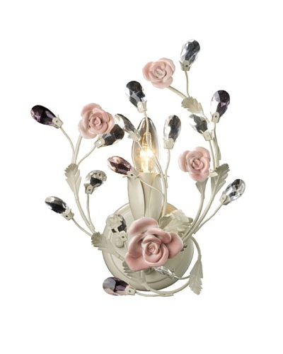 Artistic Lighting Heritage 1-Light Porcelain Roses Sconce, Cream