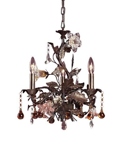 Artistic Lighting 3-Light Hand Blown Florets Chandelier, Deep Rust