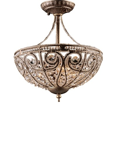 Artistic Lighting Elizabethan 3-Light Semi Flush-Mount Ceiling Fixture, Dark Bronze