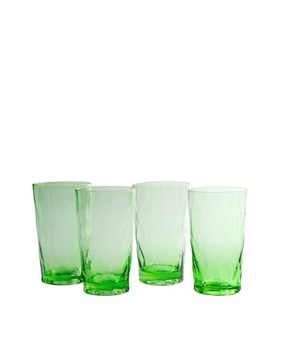 Artland Set of 4 Ripple Green 20-Oz. Highball Glasses