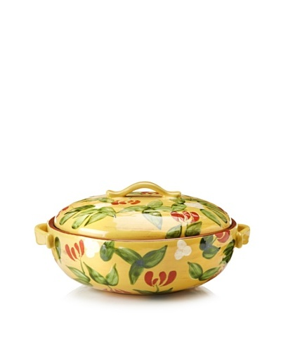 Artland Margaux Round Covered Baker, Mustard/Rust, 2-Qt.