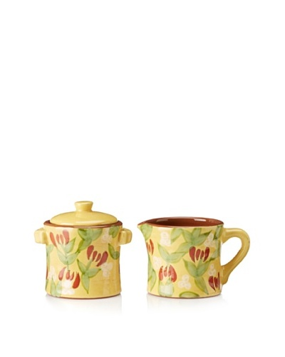 Artland Margaux Creamer & Sugar Bowl Set, Mustard/Rust