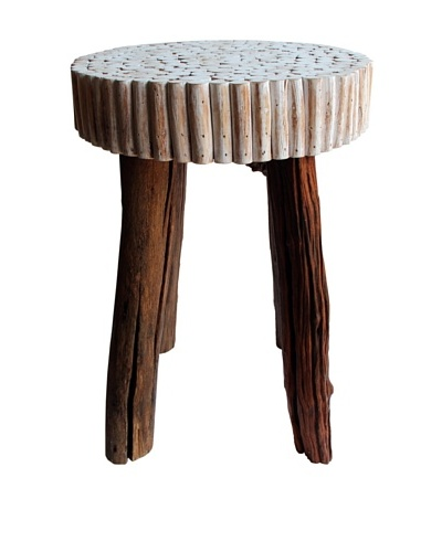 Asian Art Imports Modern Bubble Stool, Antique White/Natural
