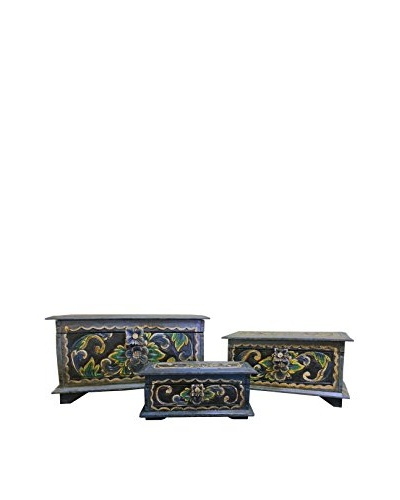 Asian Loft Set of 3 Hand-Carved Wooden Balinese Nesting Boxes, Blue/Grey/Green