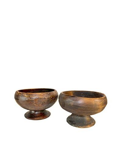 Asian Loft Set of 2 Tibetan Willow Wood Bowls